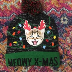Light up Meowy Christmas hat NWOT